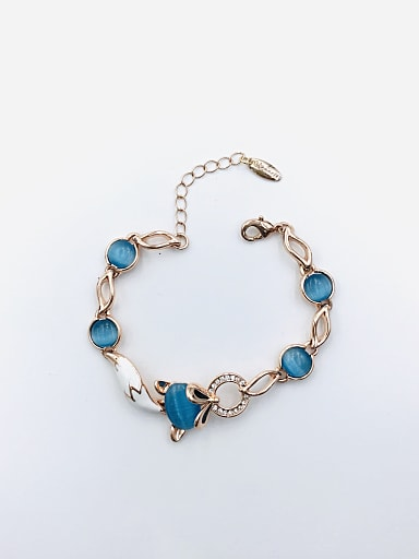 Zinc Alloy Cats Eye Blue Enamel Fox Trend Bracelet