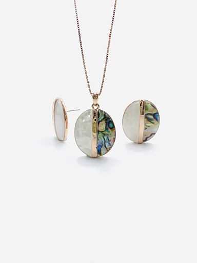 Minimalist Oval Zinc Alloy Shell Multi Color Earring and Necklace Set