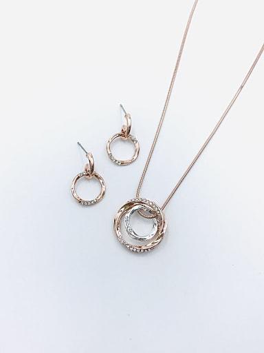 Minimalist Round Zinc Alloy Rhinestone White Earring and Necklace Set