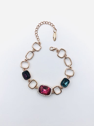 Zinc Alloy Glass Stone Multi Color Geometric Trend Bracelet