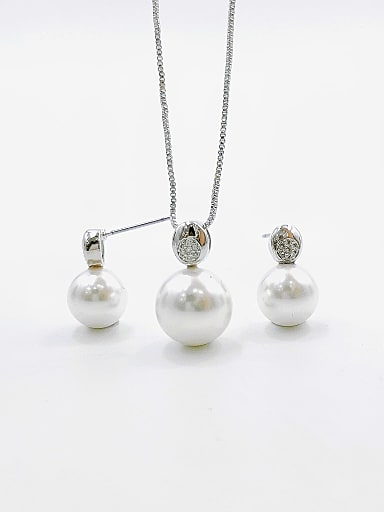 Minimalist Ball Brass Imitation Pearl White Earring and Necklace Set