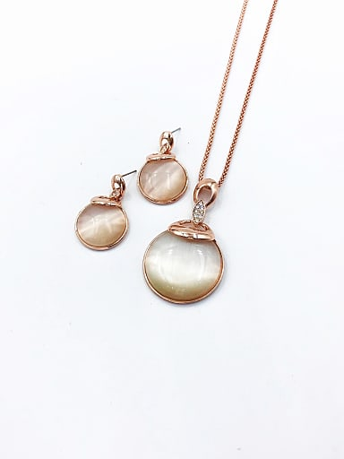 Statement Round Zinc Alloy Cats Eye White Earring and Necklace Set