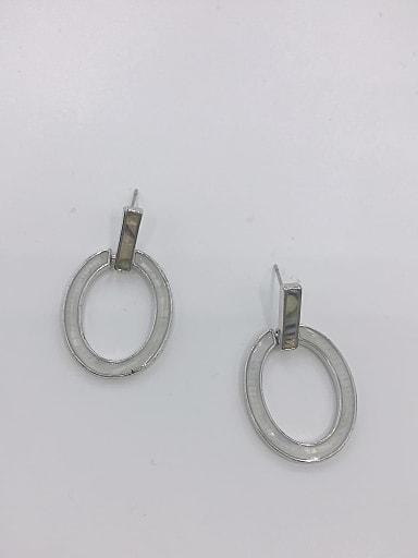 Zinc Alloy Shell Multi Color Oval Minimalist Drop Earring