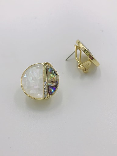 Zinc Alloy Shell Multi Color Round Minimalist Clip Earring