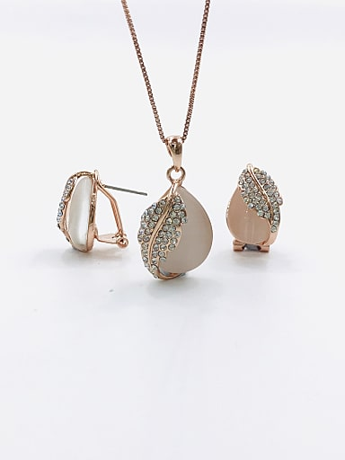 Dainty Water Drop Zinc Alloy Cats Eye White Earring and Necklace Set