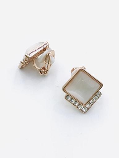 Zinc Alloy Cats Eye White Square Minimalist Clip Earring
