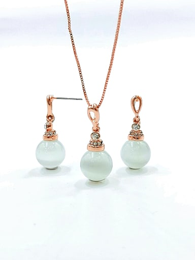 Dainty Ball Zinc Alloy Cats Eye White Earring and Necklace Set