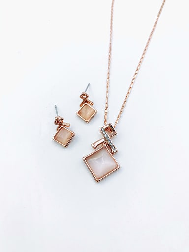 Minimalist Square Zinc Alloy Cats Eye White Earring and Necklace Set
