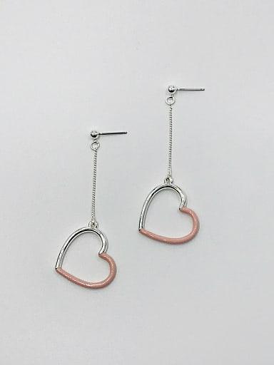 Zinc Alloy Enamel Heart Minimalist Drop Earring