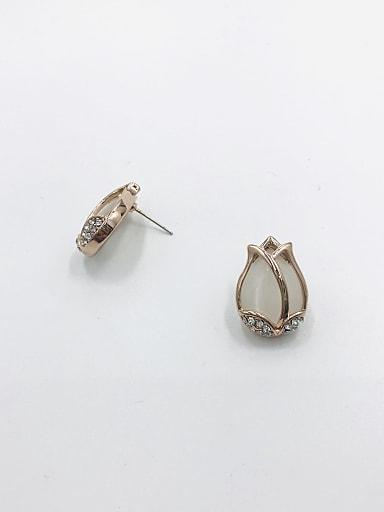 Zinc Alloy Cats Eye White Flower Trend Stud Earring