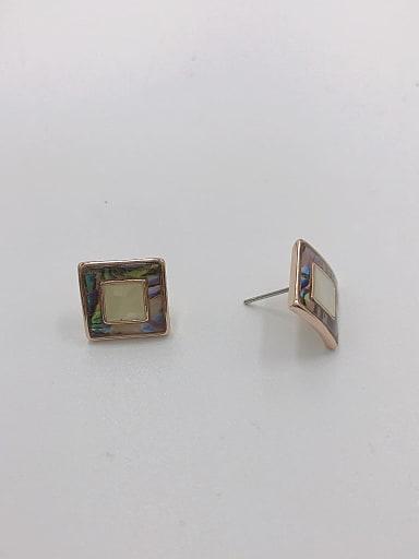 Zinc Alloy Shell Multi Color Square Minimalist Stud Earring