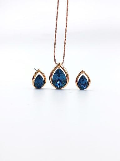 Minimalist Water Drop Brass Swarovski Crystal Blue Earring and Necklace Set