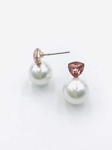 Zinc Alloy Imitation Pearl White Ball Classic Stud Earring