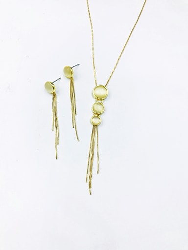 Trend Round Zinc Alloy Cats Eye White Earring and Necklace Set