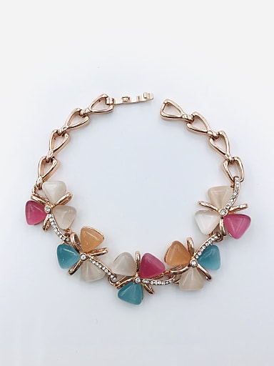 Zinc Alloy Cats Eye Multi Color Flower Trend Bracelet