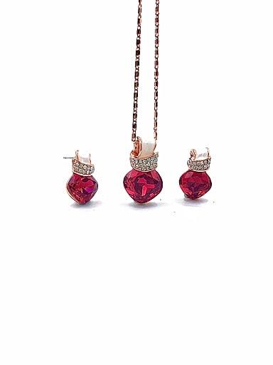 Minimalist Irregular Zinc Alloy Glass Stone Red Earring and Necklace Set