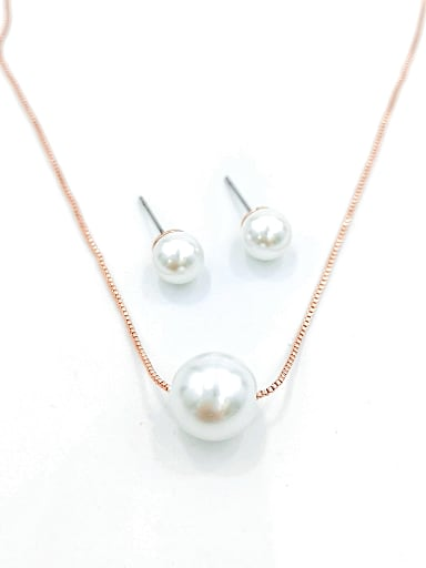 Minimalist Ball Zinc Alloy Imitation Pearl White Earring and Necklace Set