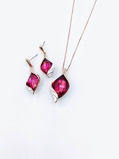 Trend Irregular Zinc Alloy Glass Stone Red Enamel Earring and Necklace Set