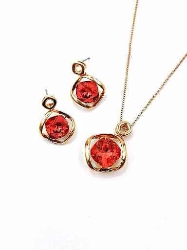 Minimalist Irregular Brass Swarovski Crystal Red Earring and Necklace Set