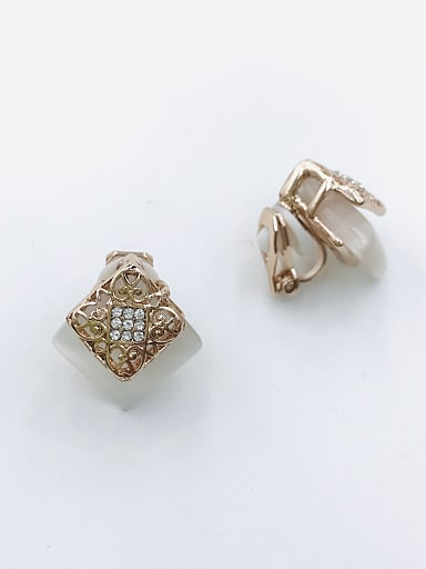 Zinc Alloy Cats Eye White Square Classic Clip Earring