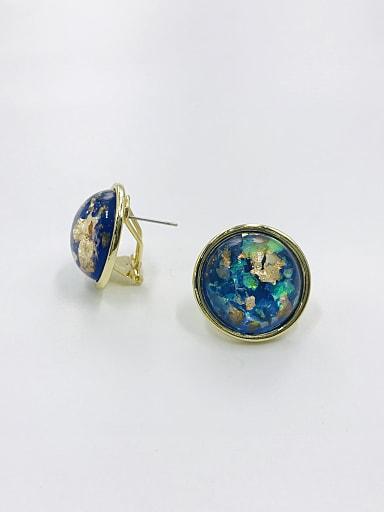 Zinc Alloy Multi Color Round Classic Clip Earring