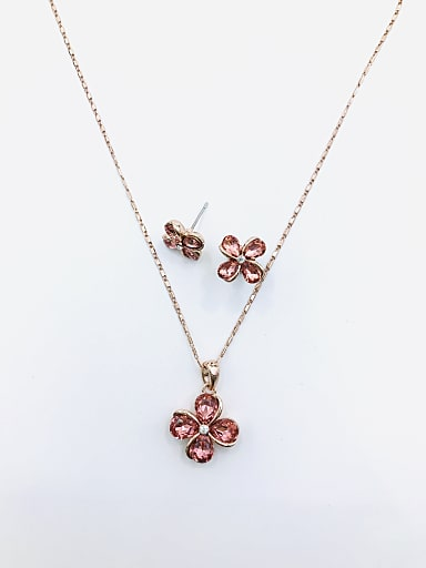 Dainty Flower Zinc Alloy Glass Stone Red Earring and Necklace Set
