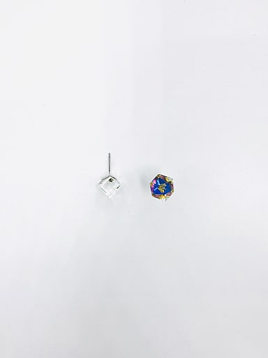 Brass Swarovski Crystal Multi Color Irregular Minimalist Solitaire Earring