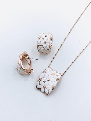 Trend Rectangle Zinc Alloy Enamel Earring and Necklace Set