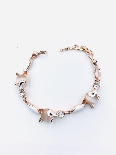 Zinc Alloy Cats Eye White Enamel Fox Trend Bracelet