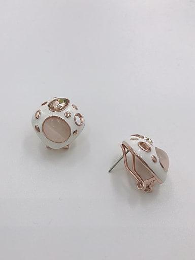 Zinc Alloy Cats Eye White Enamel Geometric Dainty Clip Earring
