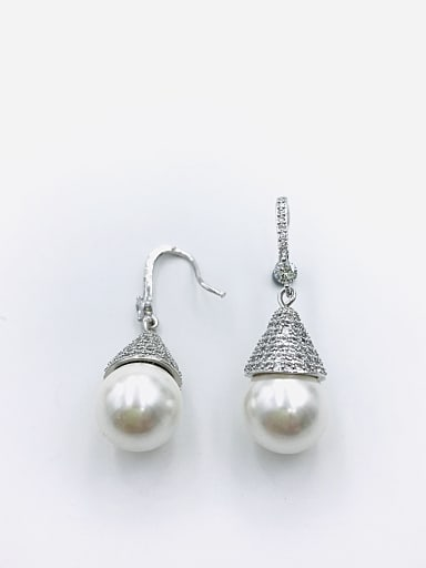Brass Imitation Pearl White Water Drop Dainty Hook Earring