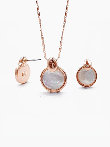 Minimalist Round Zinc Alloy Shell White Earring and Necklace Set