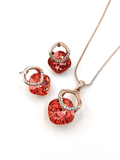 Minimalist Geometric Zinc Alloy Glass Stone Red Earring and Necklace Set