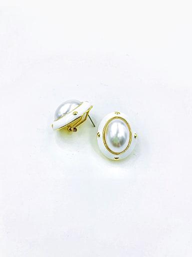 Zinc Alloy Imitation Pearl White Enamel Oval Classic Clip Earring