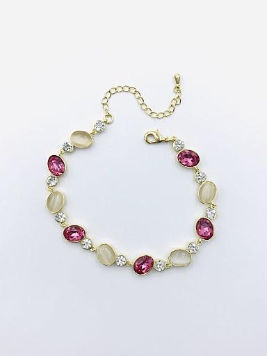 Brass Glass Stone Red Oval Trend Bracelet