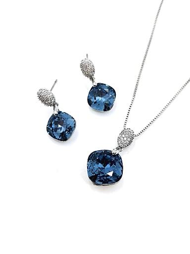 Minimalist Geometric Brass Swarovski Crystal Blue Earring and Necklace Set