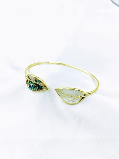Zinc Alloy Shell Multi Color Leaf Minimalist Cuff Bangle