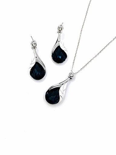 Trend Water Drop Zinc Alloy Glass Stone Blue Enamel Earring and Necklace Set