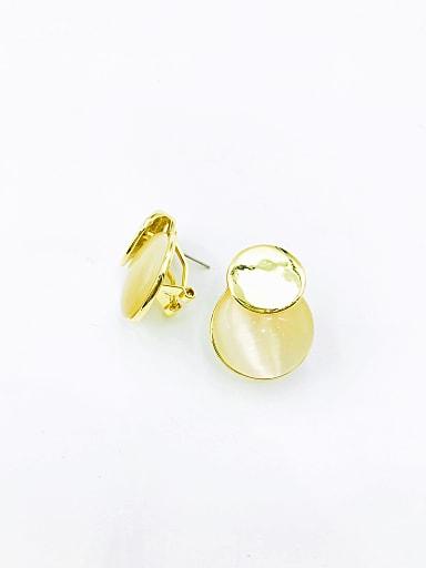 Zinc Alloy Cats Eye White Round Minimalist Clip Earring