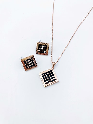 Minimalist Square Brass Imitation Pearl White Acrylic Earring and Necklace Set