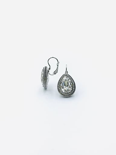 Zinc Alloy Glass Stone Clear Water Drop Classic Huggie Earring