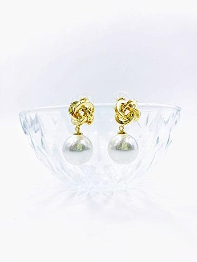 Brass Imitation Pearl White Irregular Classic Drop Earring