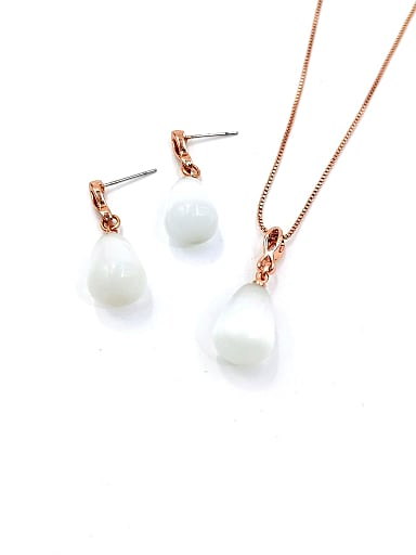 Minimalist Water Drop Zinc Alloy Cats Eye White Earring and Necklace Set