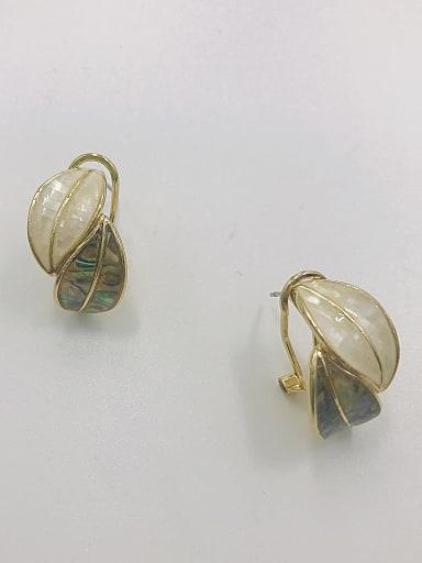 Zinc Alloy Shell Multi Color Leaf Trend Clip Earring