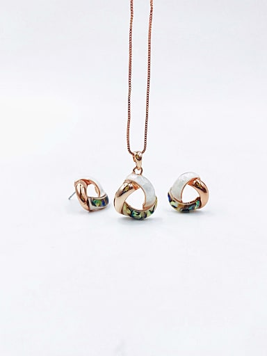 Minimalist Triangle Zinc Alloy Shell Multi Color Earring and Necklace Set