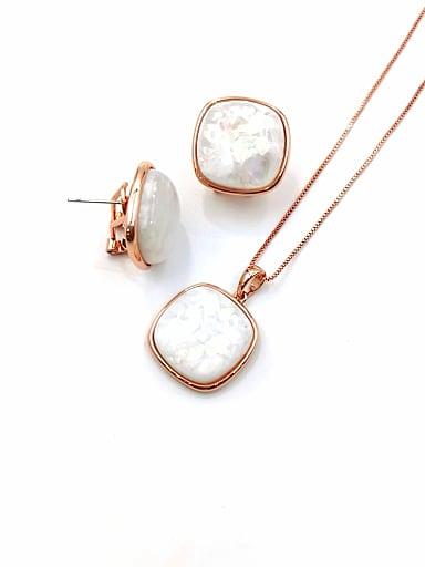 Minimalist Square Zinc Alloy Imitation Opal Multi Color Earring and Necklace Set