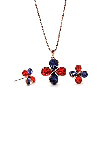 Flower Brass Swarovski Crystal Multi Color Earring and Necklace Set