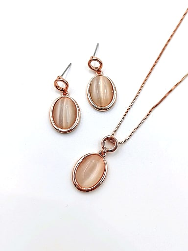 Minimalist Oval Zinc Alloy Cats Eye White Earring and Necklace Set