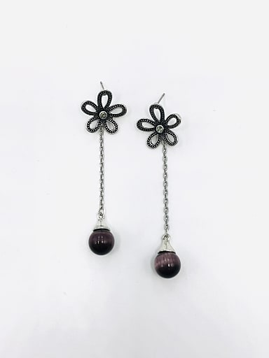 Zinc Alloy Cats Eye Purple Flower Vintage Drop Earring