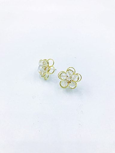 Brass Crystal Clear Flower Trend Stud Earring